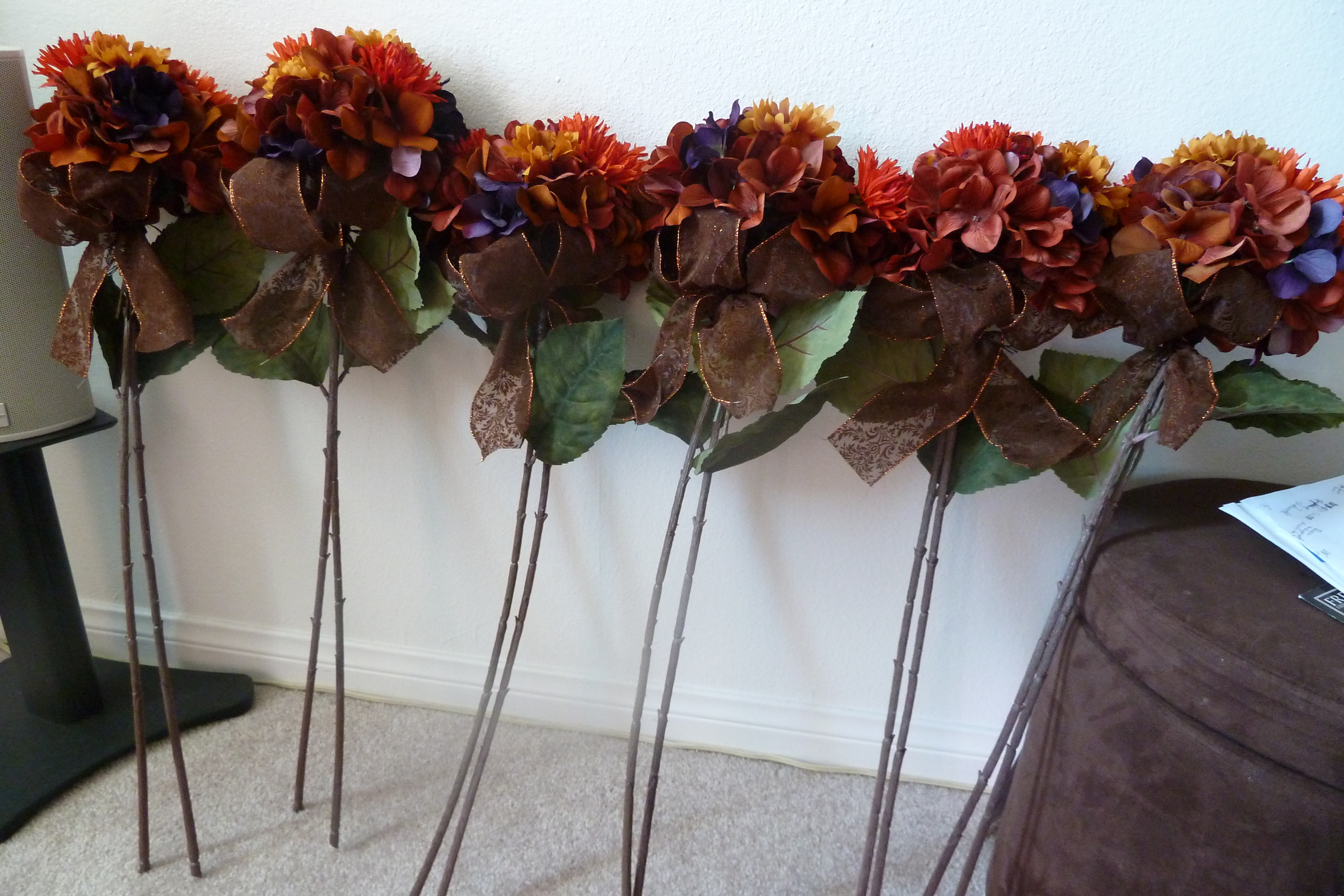 Ceremony, Flowers & Decor, orange, Ceremony Flowers, Fall, Flowers, Fall Wedding Flowers & Decor, Pomander, Fake, Silk