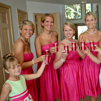Bridesmaids, Bridesmaids Dresses, Fashion, ivory, pink, Toast, Champagne