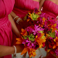 Flowers & Decor, Bridesmaids, Bridesmaids Dresses, Fashion, yellow, orange, pink, purple, green, Bridesmaid Bouquets, Flowers, Flower Wedding Dresses