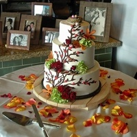 Reception, Flowers & Decor, Cakes, white, orange, red, green, brown, cake