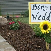 Ceremony, Reception, Flowers & Decor, white, yellow, orange, Sign