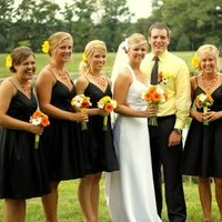 Flowers & Decor, Bridesmaids, Bridesmaids Dresses, Fashion, white, yellow, orange, black, Bridesmaid Bouquets, Flowers, Flower Wedding Dresses