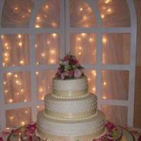 Reception, Flowers & Decor, Cakes, white, pink, green, cake, Flowers