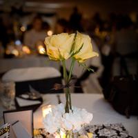 Reception, Flowers & Decor, white, yellow, black, Flowers, Wedding, Damask