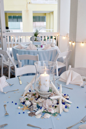 Reception, Flowers & Decor, blue, Beach, Beach Wedding Flowers & Decor, Wedding, Center, Piece