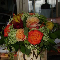 Reception, Flowers & Decor, white, yellow, orange, red, green, brown, Rustic, Flowers, Rustic Wedding Flowers & Decor, Wood