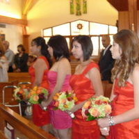 Ceremony, Flowers & Decor, Bridesmaids, Bridesmaids Dresses, Fashion, orange, red