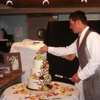 Reception, Flowers & Decor, Wedding Dresses, Cakes, Fashion, white, yellow, orange, red, green, brown, cake, dress, Flowers, Birds, Nest, Wood, Flower Wedding Dresses