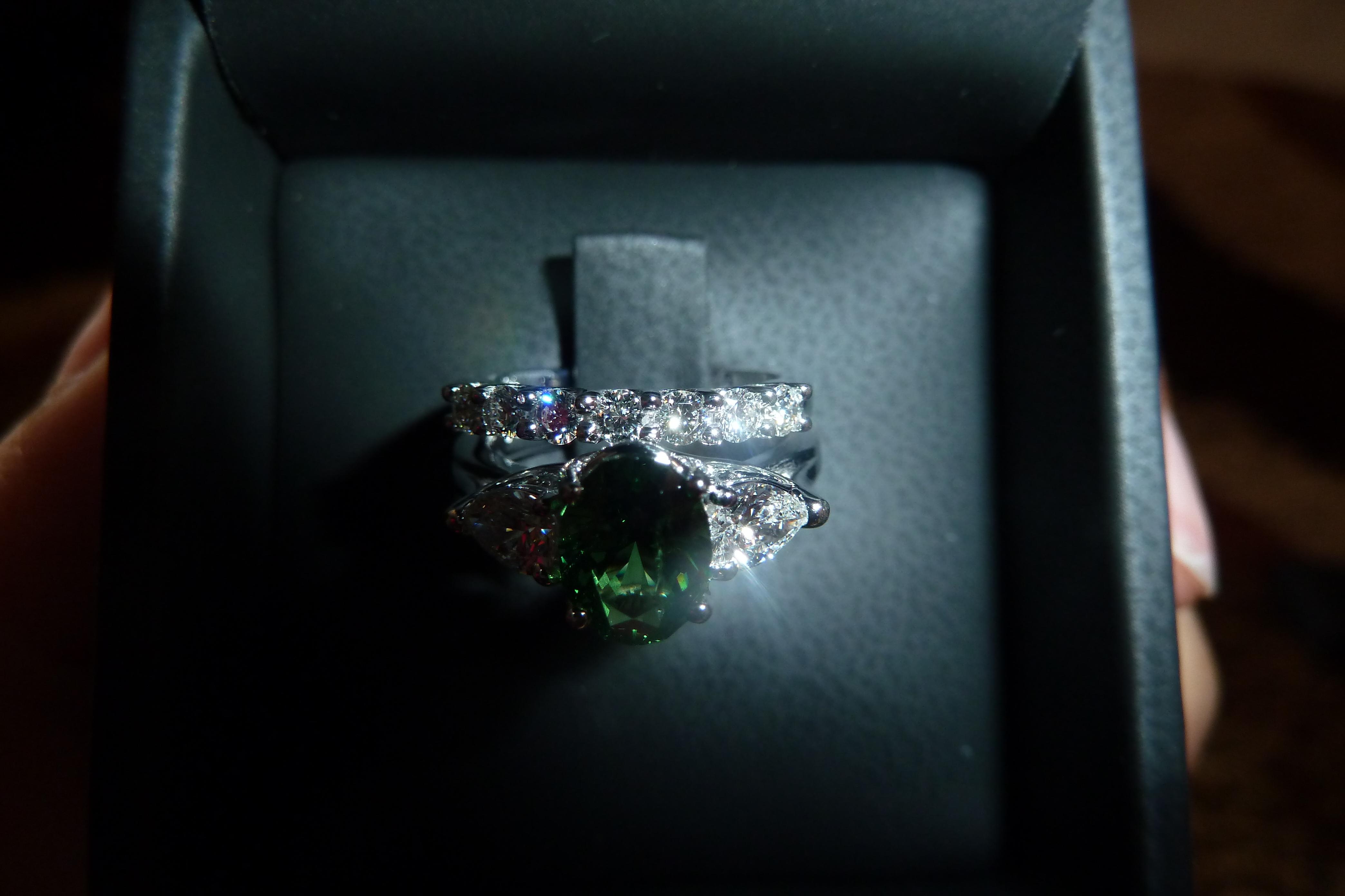 Ring, Engagement, Garnet, Tsavorite