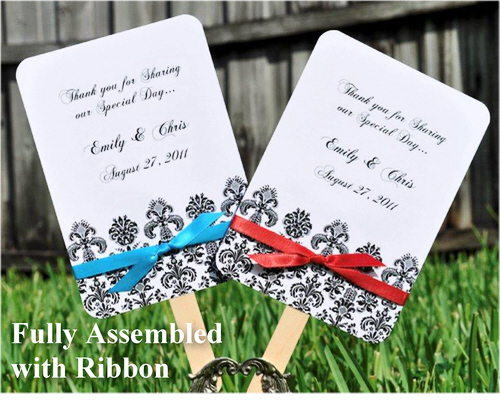 Ceremony, Reception, Flowers & Decor, Favors & Gifts, white, black, Favors, Wedding, Fans, Damask, Decorations