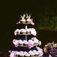 Reception, Flowers & Decor, Cakes, Paper, purple, gold, cake, Bride Bouquets, Flowers, Bouquet, Toss, Crane
