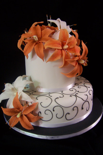 Cakes, white, orange, cake, Lily, Lillies