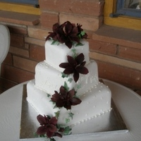 Cakes, white, red, burgundy, cake, Lily, Lillies