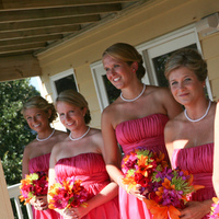 Ceremony, Flowers & Decor, Bridesmaids, Bridesmaids Dresses, Fashion, orange, pink, purple, green, Ceremony Flowers, Bridesmaid Bouquets, Flowers, Flower Wedding Dresses
