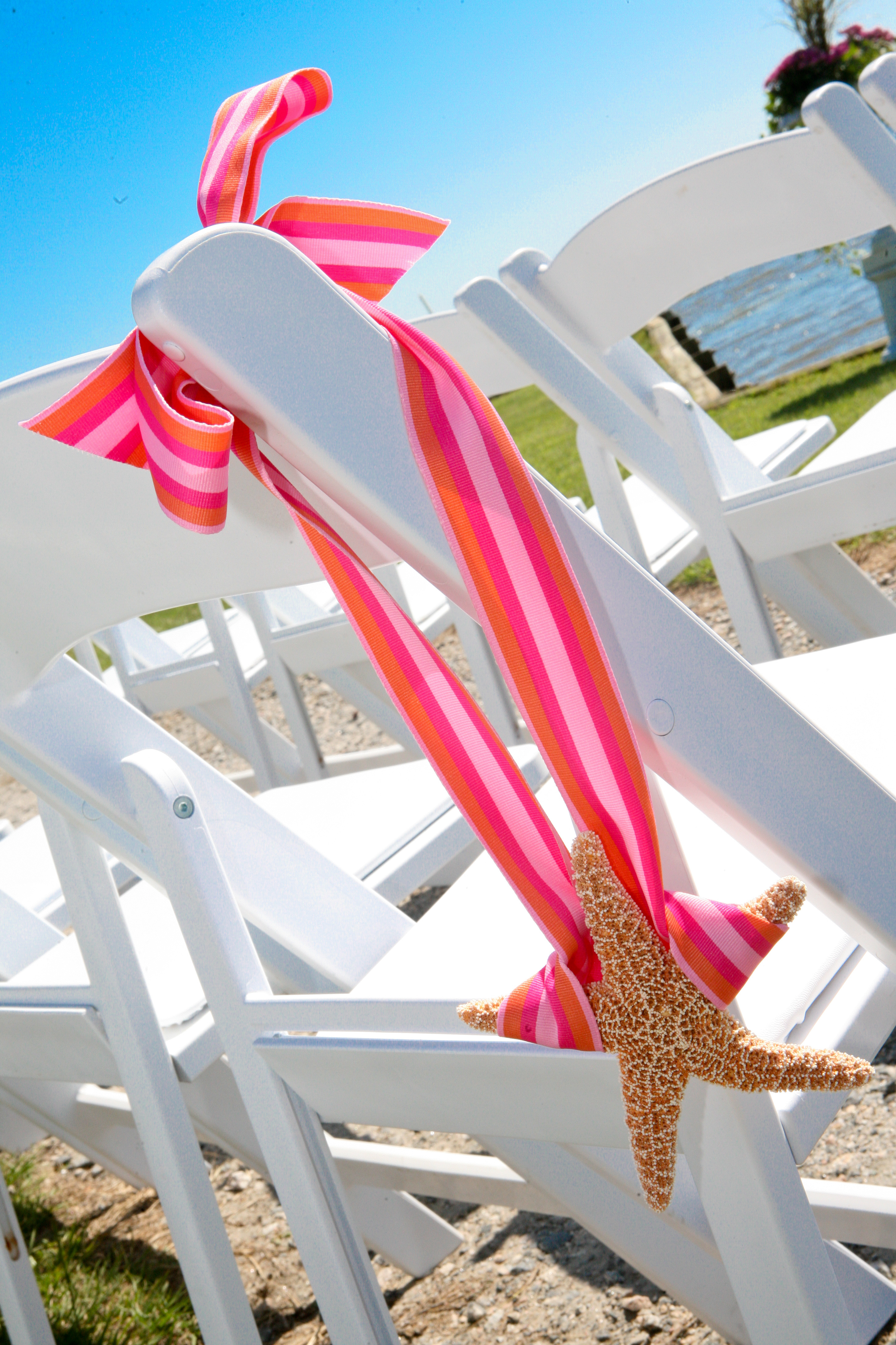 Ceremony, Flowers & Decor, orange, pink, Beach, Beach Wedding Flowers & Decor, Starfish, Pew, Marker, Banks, Outer