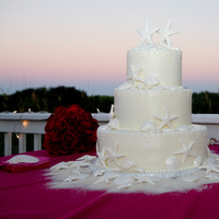 Reception, Flowers & Decor, Cakes, red, cake, Beach, Beach Wedding Flowers & Decor, Shells