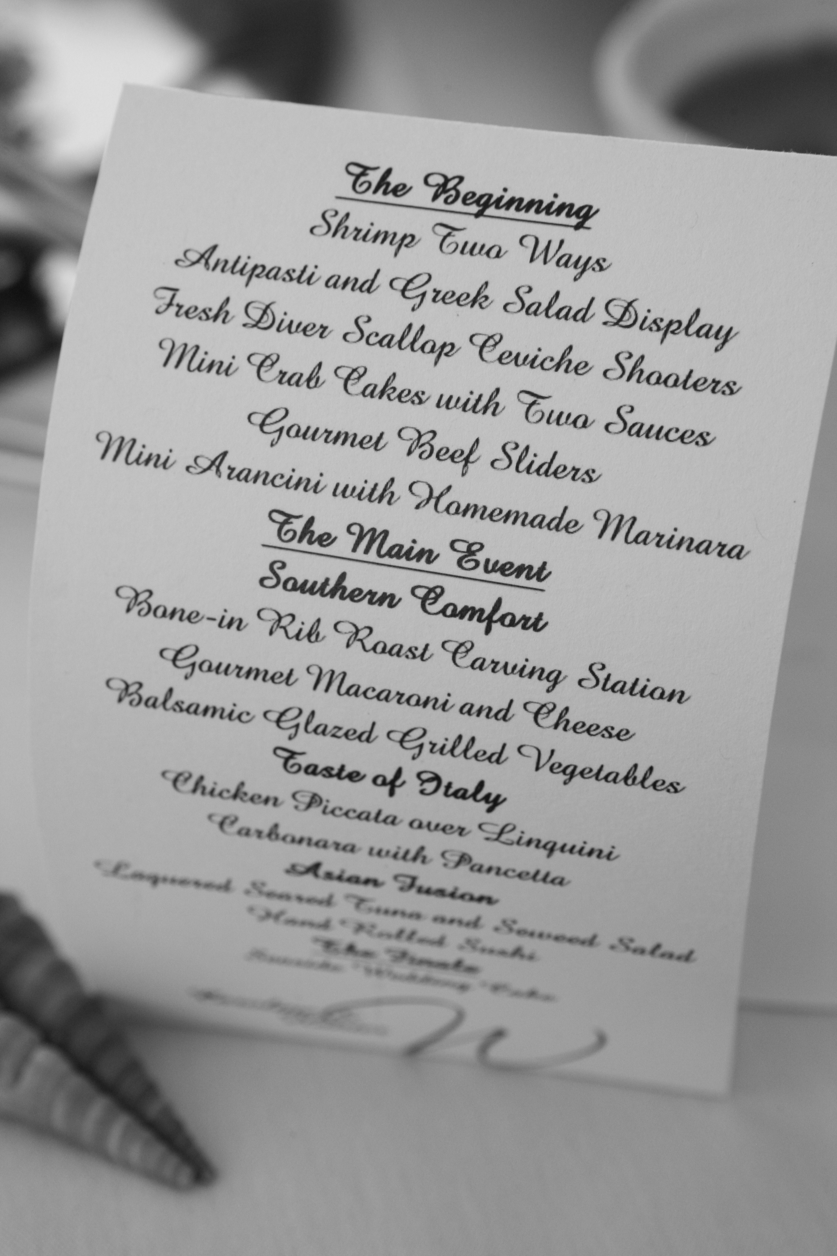 Reception, Flowers & Decor, Menu