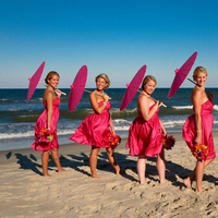 Bridesmaids, Bridesmaids Dresses, Beach Wedding Dresses, Fashion, pink, Beach, Umbrella, Parasol