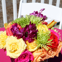 Reception, Flowers & Decor, yellow, orange, pink, purple, green, Centerpieces, Flowers, Centerpiece