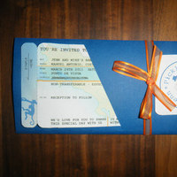 DIY, Stationery, orange, blue, Invitations, Invite, Pass, Boarding
