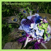 Beauty, Flowers & Decor, purple, blue, Feathers, Bride Bouquets, Flowers, Bouquet, Peacock, Ostrich, Coque, Claytonandshauna