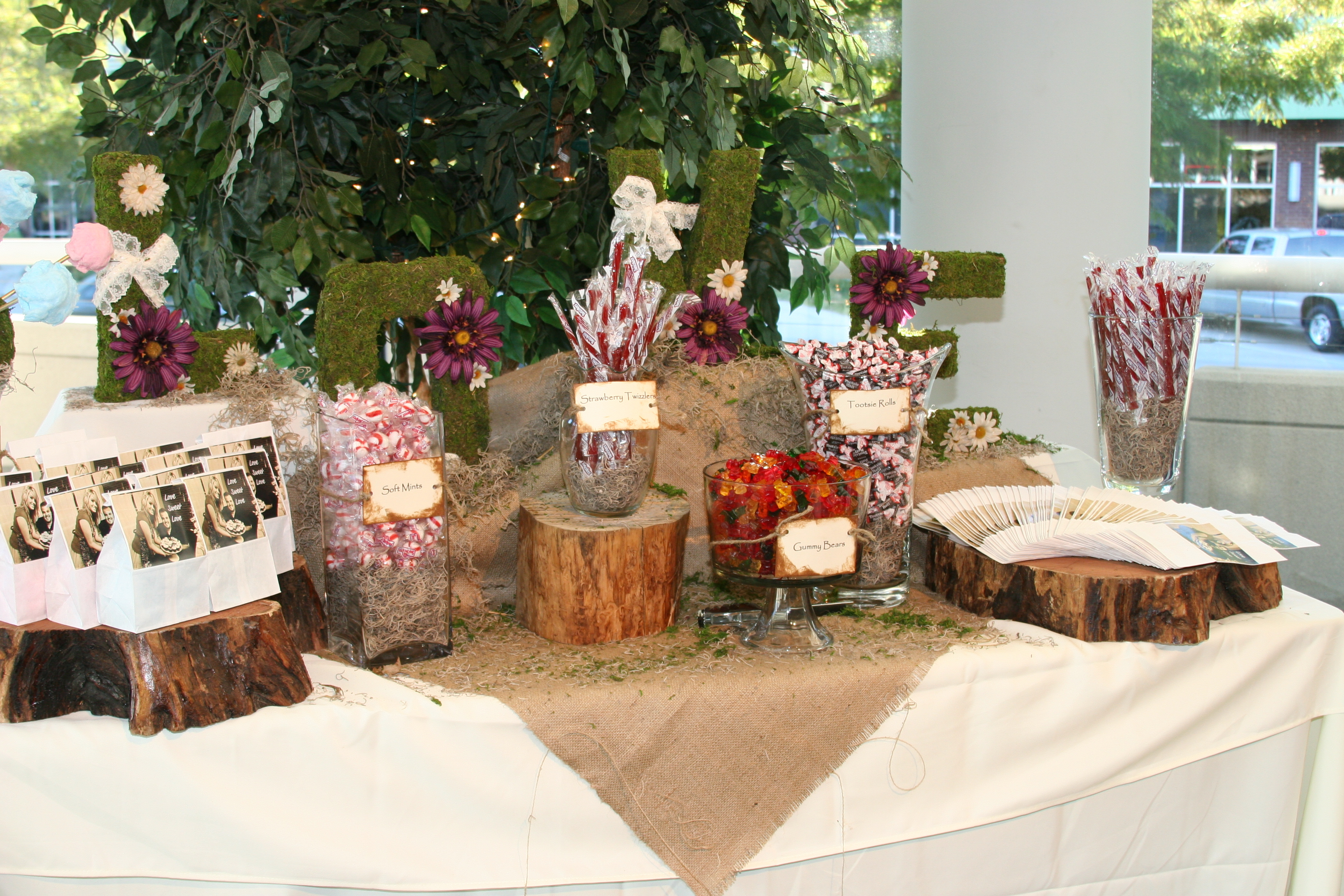 Reception, Flowers & Decor, Favors & Gifts, Cakes, green, brown, cake, Favors, Flowers, Candy, Buffet, Inspiration board, Cotton