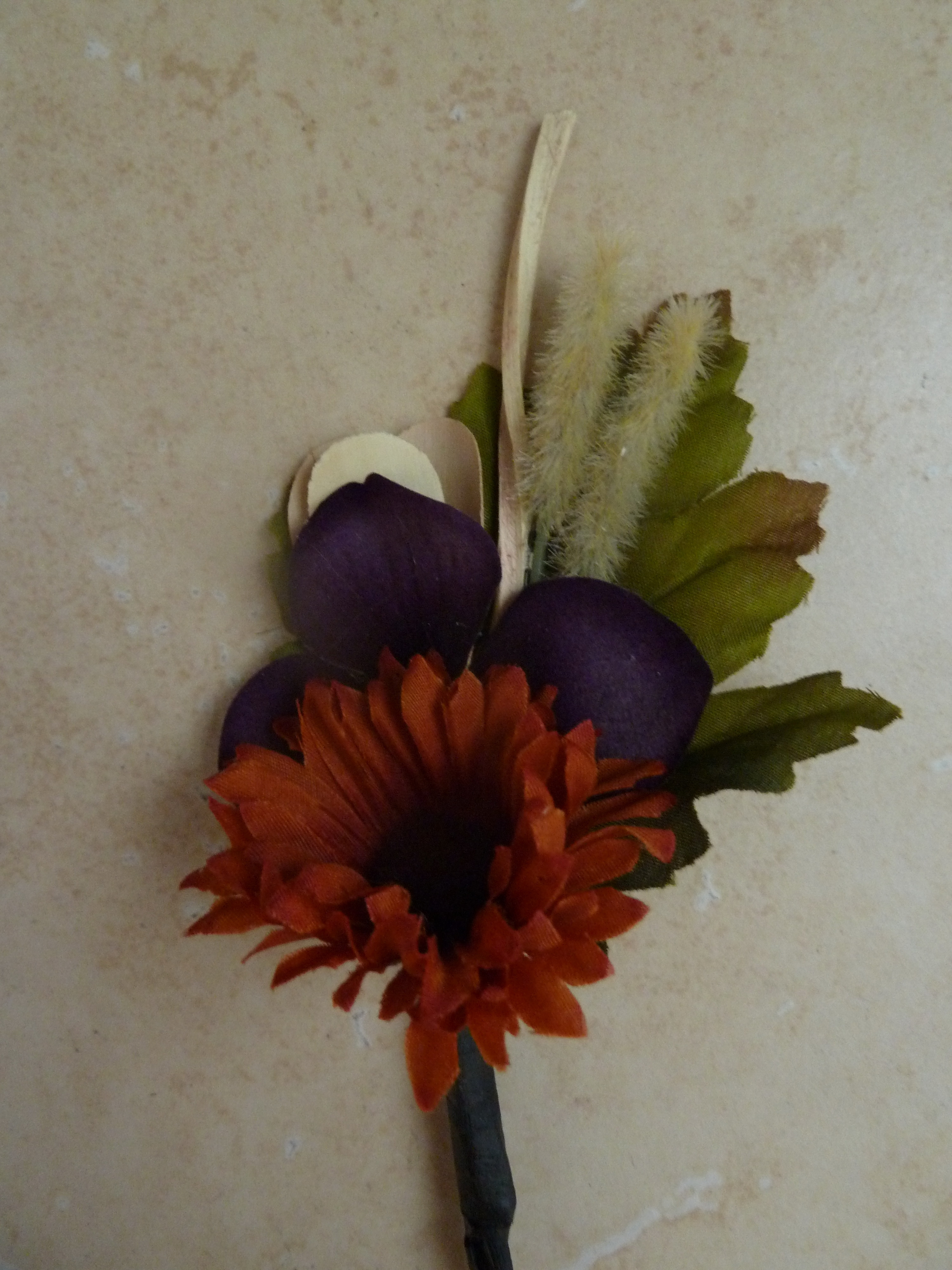 Ceremony, Flowers & Decor, orange, purple, Fall, Rustic, Rustic Wedding Flowers & Decor, Boutonniere