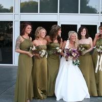 Beauty, Ceremony, Reception, Flowers & Decor, Bridesmaids, Bridesmaids Dresses, Wedding Dresses, Fashion, green, brown, dress, Makeup, Ceremony Flowers, Bridesmaid Bouquets, Flowers, Hair, Inspiration board, Flower Wedding Dresses