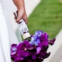 Flowers & Decor, purple, Bride Bouquets, Modern, Flowers, Modern Wedding Flowers & Decor, Bouquet, Calla, Lilies, Orchids, Lily, Hydrangeas, Eggplant, Vanda, Vibrant