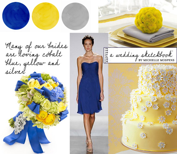 yellow, blue, silver, Inspiration board