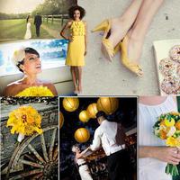 Beauty, Reception, Flowers & Decor, Wedding Dresses, Shoes, Fashion, yellow, orange, dress, Makeup, Flowers, Hair, Inspiration board, Flower Wedding Dresses