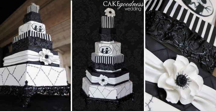 Reception, Flowers & Decor, Cakes, white, black, cake, Before, And, Christmas, Nightmare