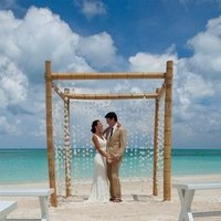 Ceremony, Flowers & Decor, white, Beach, Beach Wedding Flowers & Decor, Chuppah, Canopy, Capiz shell