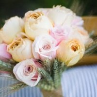 Flowers & Decor, white, pink, green, Flowers, Roses, Wheat, Pastel