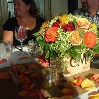 DIY, Reception, Flowers & Decor, white, yellow, orange, red, green, brown, Flowers, Burlap, Boxes