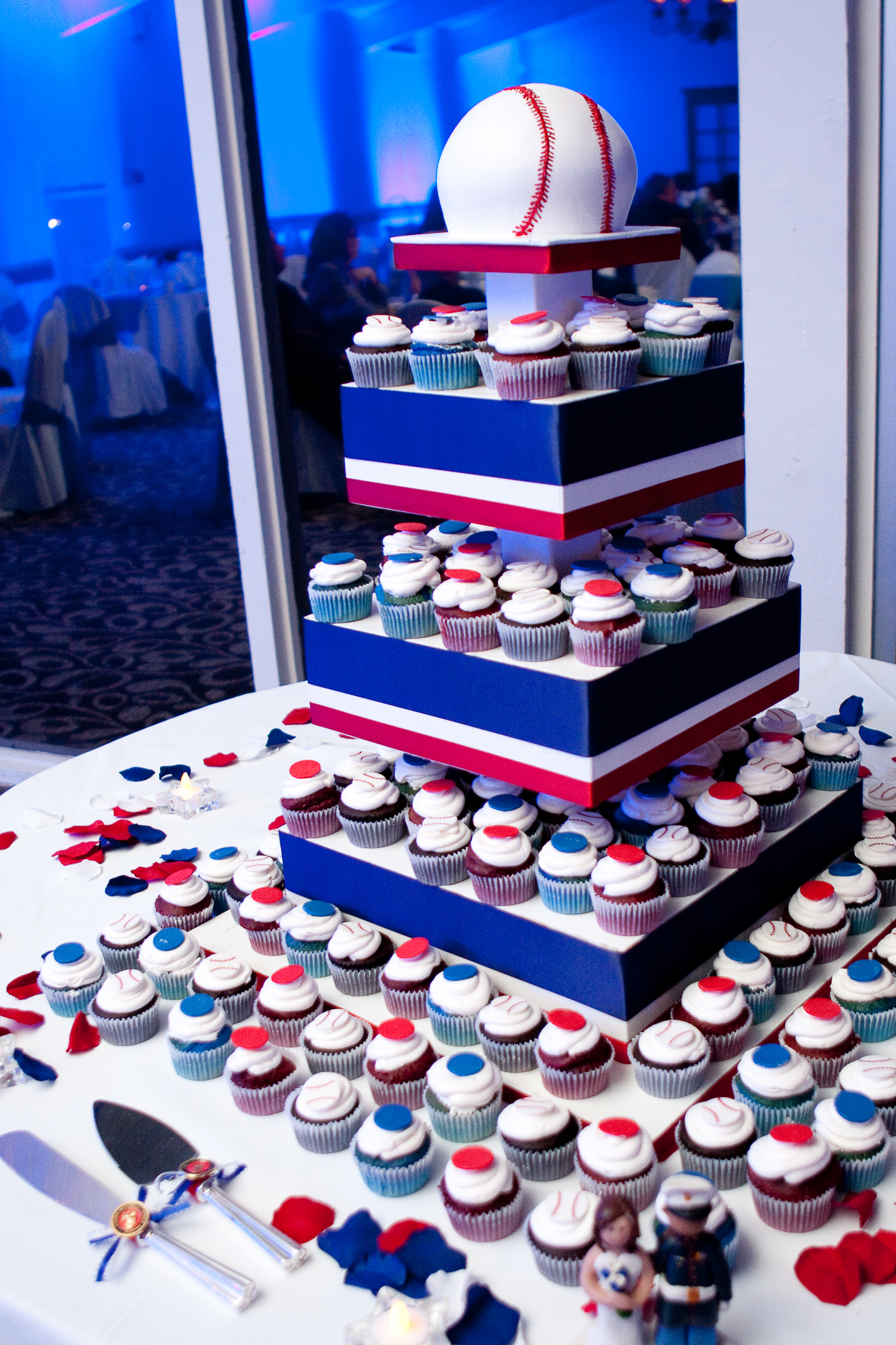 Reception, Flowers & Decor, Photography, Cakes, white, red, blue, cake, Military, Marine, Hollis, Corps, Cari