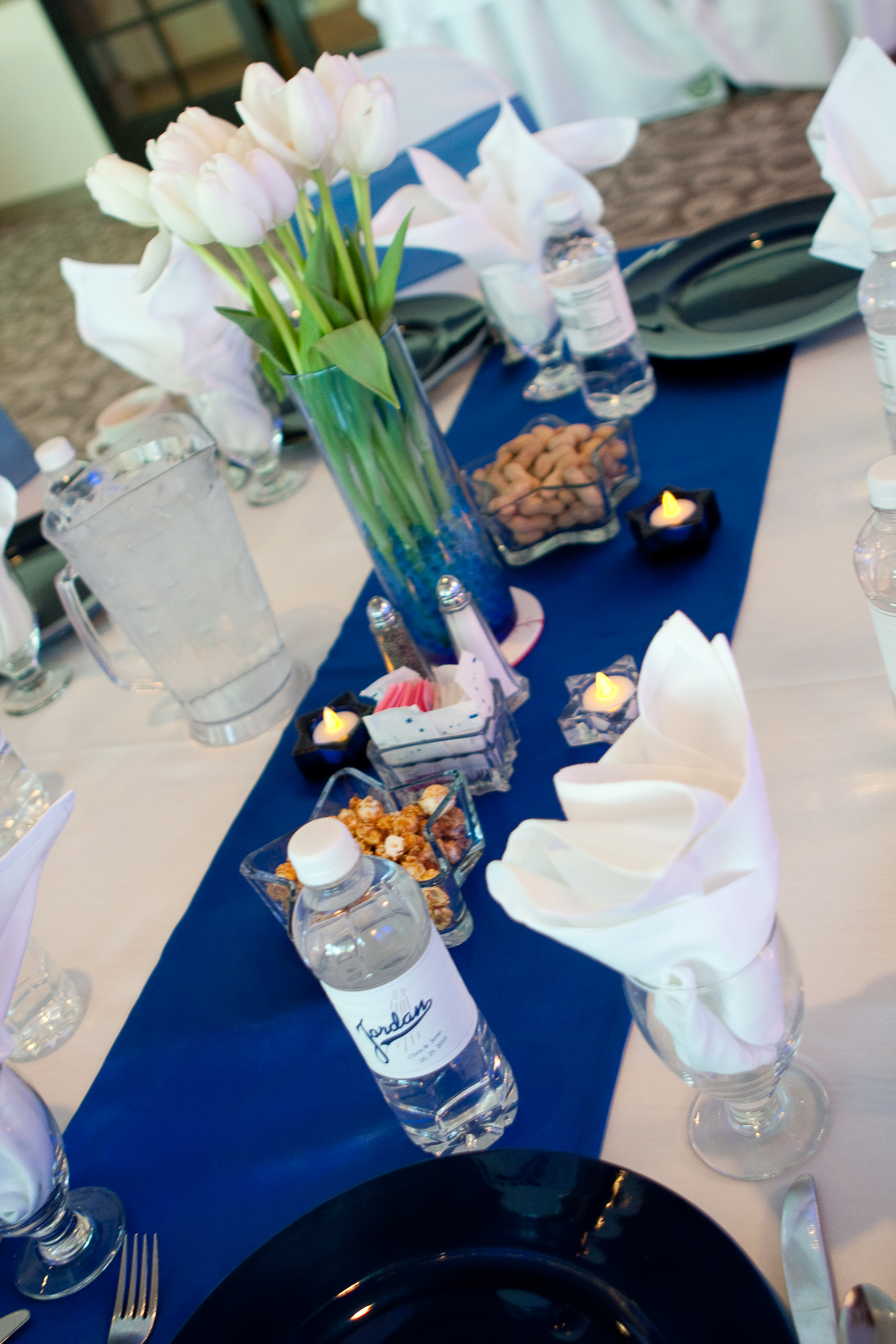 Reception, Flowers & Decor, Photography, white, blue, Centerpieces, Flowers, Centerpiece, Tulips, Hollis, Cari