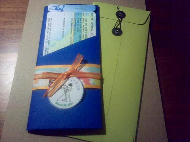 Stationery, orange, blue, green, Invitations