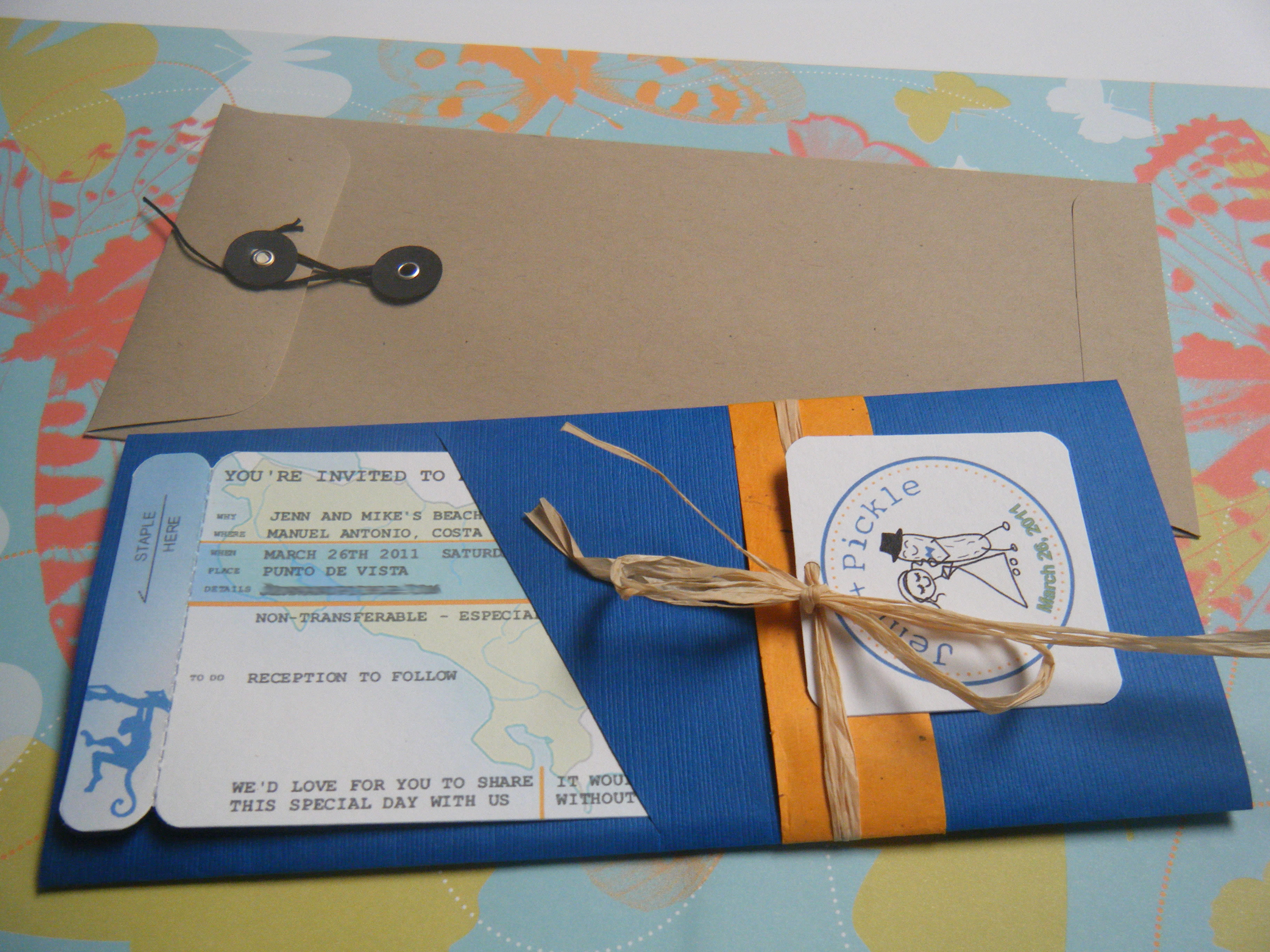 Stationery, orange, blue, green, brown, Invitations, Pass, Boarding, Invites
