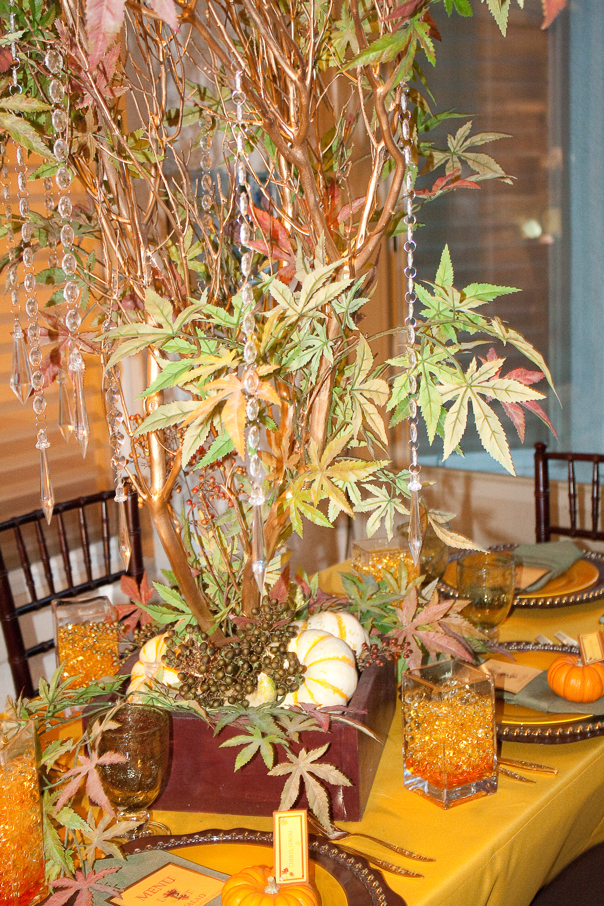Reception, Flowers & Decor, white, yellow, orange, red, green, brown, gold, Centerpieces, Fall, Centerpiece, Tree, Manzanita, Wishing, Autumn, Crystals