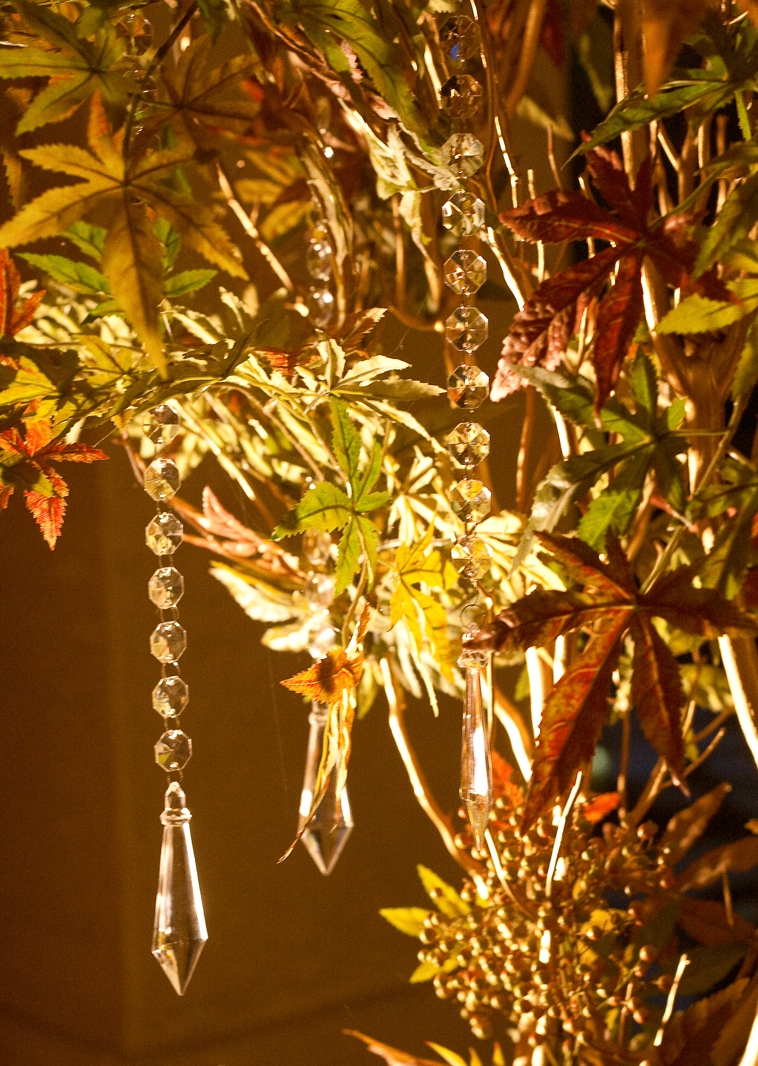 white, yellow, orange, red, purple, green, brown, gold, Fall, Centerpiece, Tree, Manzanita, Wishing, Autumn, Crystals
