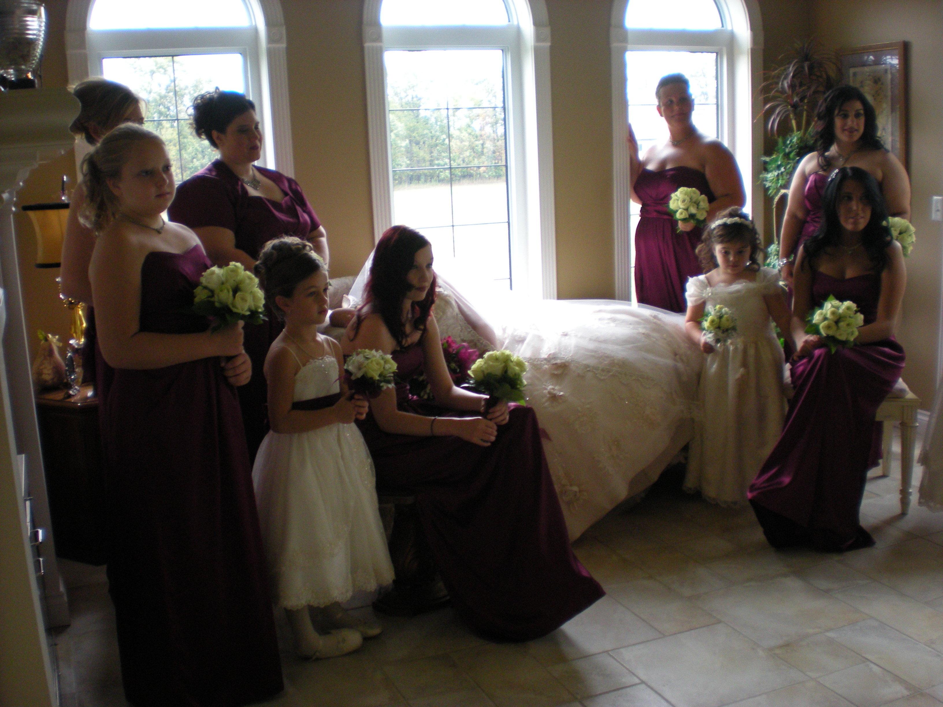 Beauty, Flowers & Decor, Bridesmaids, Bridesmaids Dresses, Flower Girls, Fashion, purple, Bridesmaid Bouquets, Flowers, Hair, Flower girl, Bouquets, Flower Wedding Dresses