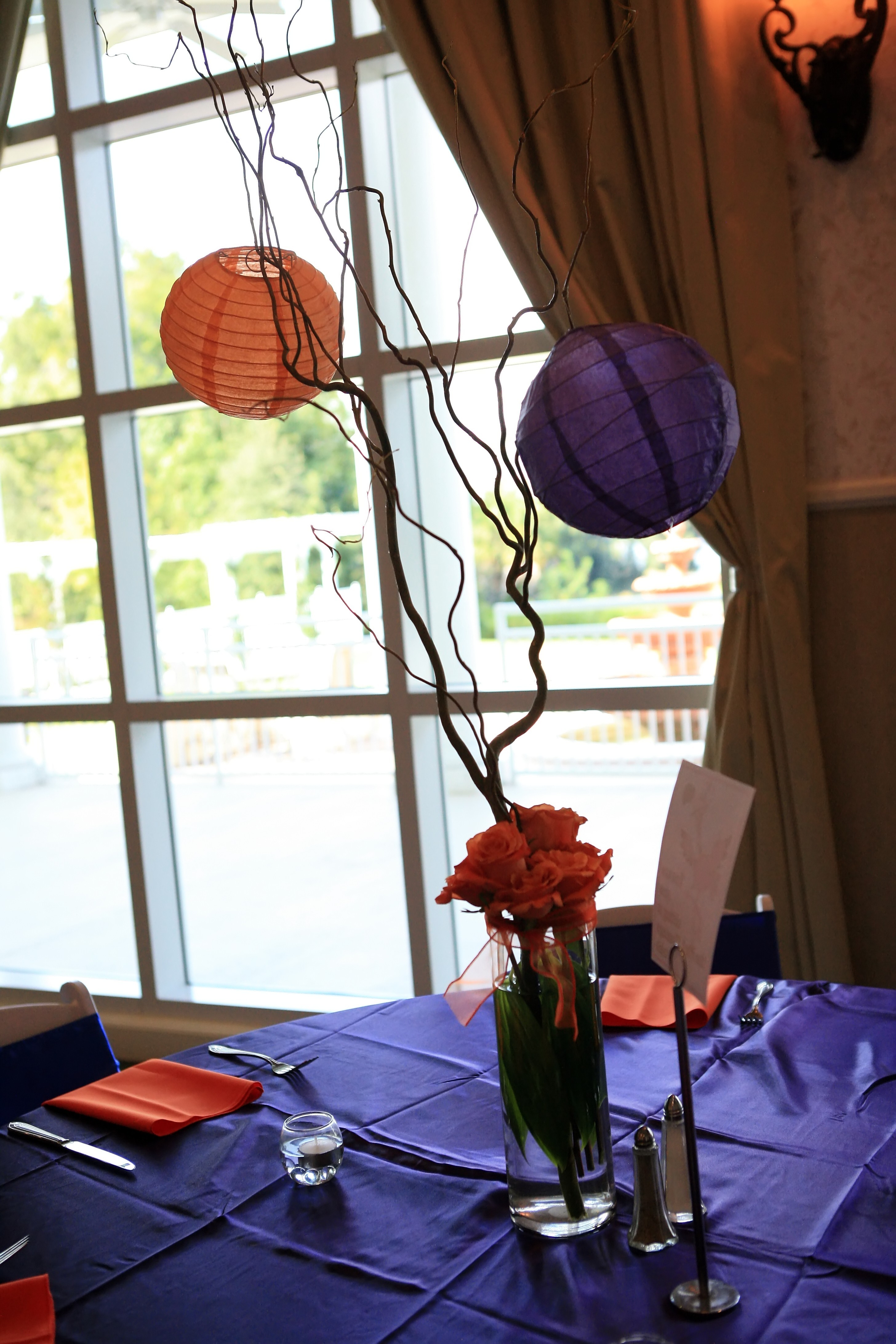 Flowers & Decor, orange, purple, blue, Centerpieces, Flowers, Roses, Centerpiece, Unique, Lanterns, Curly willow
