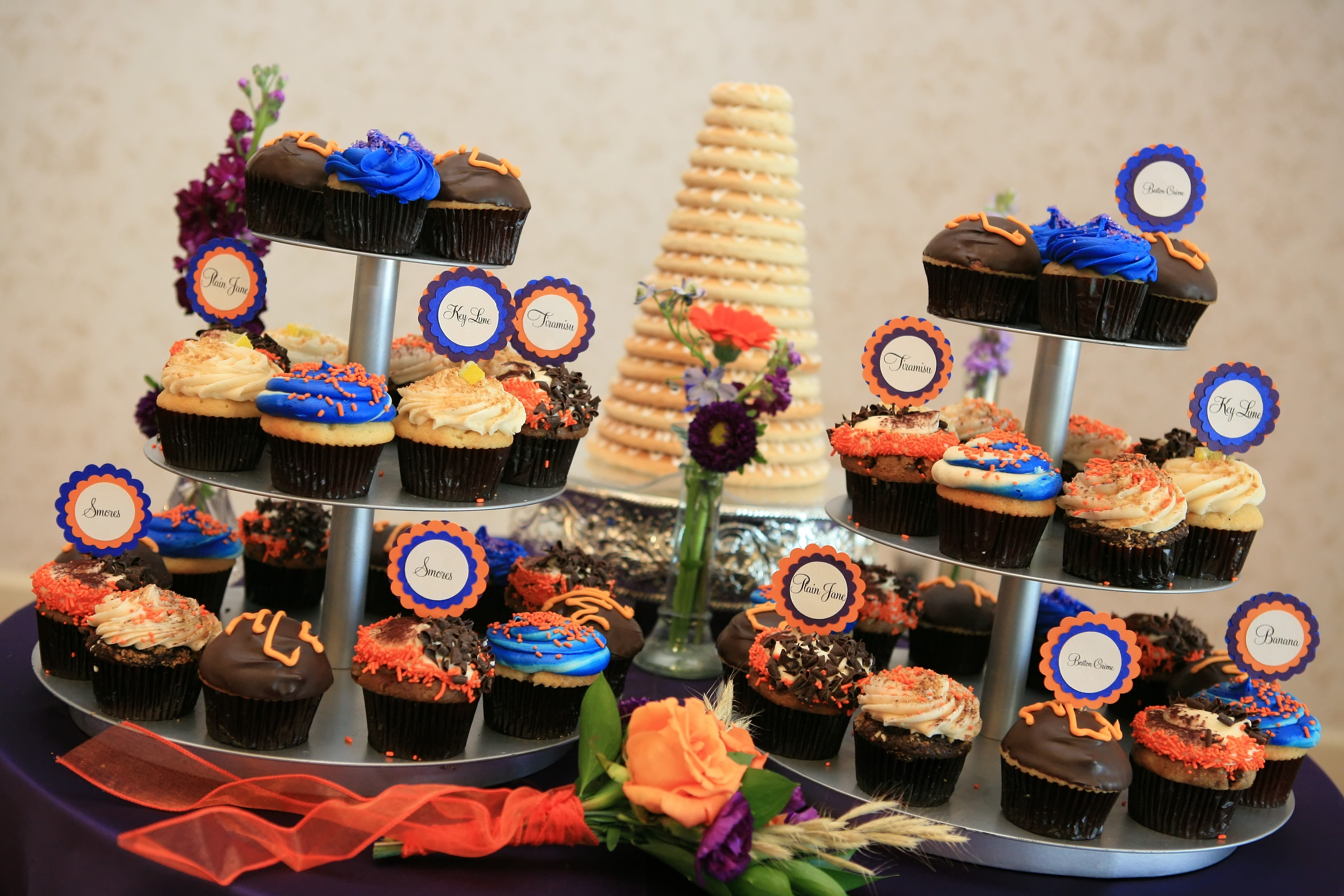 Reception, Flowers & Decor, Cakes, orange, purple, blue, cake, Cupcakes