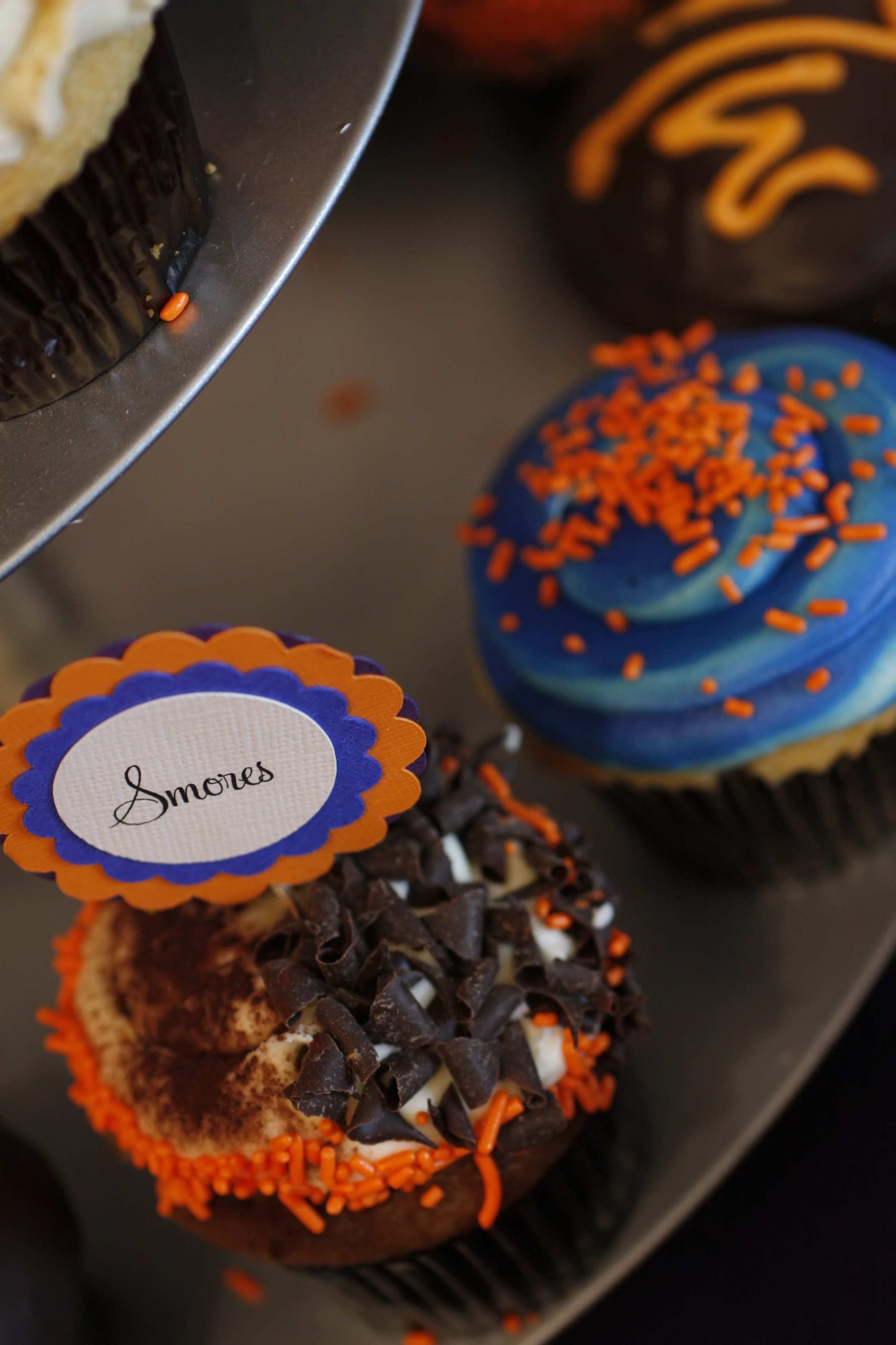 Reception, Flowers & Decor, orange, purple, blue, Cupcakes, Cupcake flag