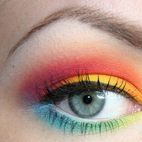 Beauty, yellow, orange, pink, purple, blue, green, gold, Makeup