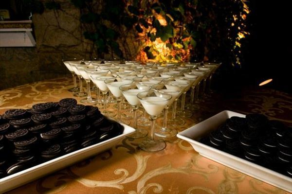 Reception, Flowers & Decor, white, black, Food, Table, Inspiration board, Sweets, Milk, Oreos