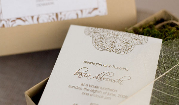Stationery, Paper, white, green, gold, invitation, Invitations, Monogram, Cream, Box, Inspiration board, Moss