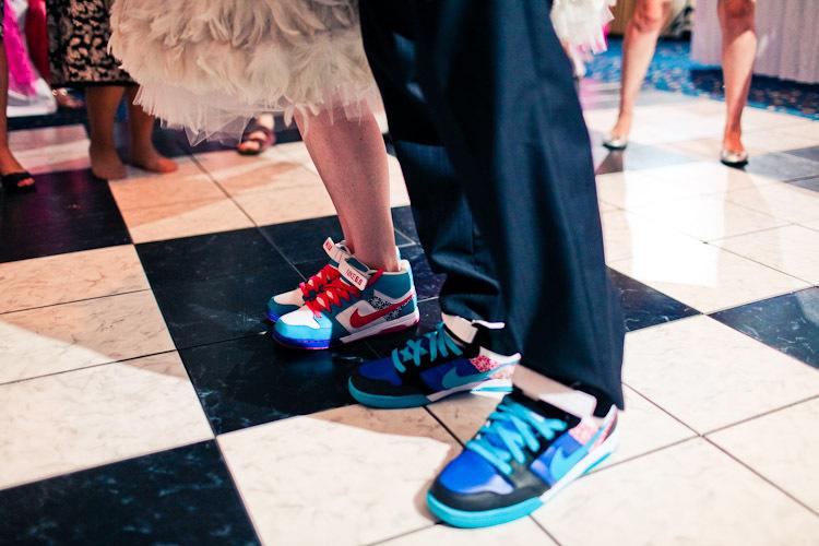 Reception, Flowers & Decor, Wedding Dresses, Shoes, Fashion, white, orange, red, blue, green, dress, Bride, Groom, Colors, Inspiration board, Nike