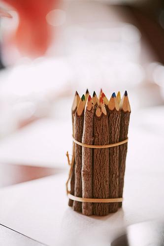 Reception, Flowers & Decor, orange, red, purple, blue, green, brown, Fun, Color, Inspiration board, Wooden, Pencils